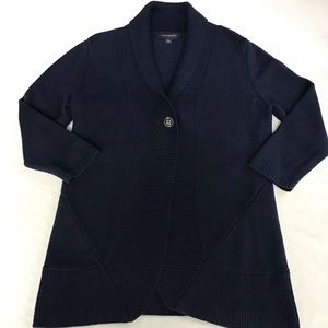Banana Republic Factory Shawl Collar Navy Sweater